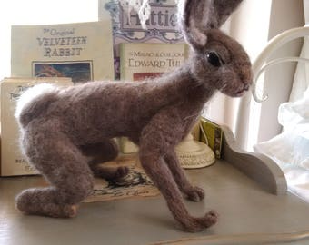 Hand made needle felt hare sculptures/ornaments/figurines/one of a kind/unique gift