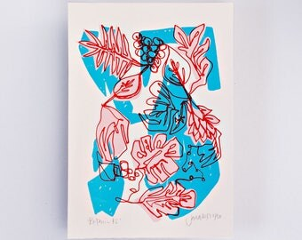 Botanic #2 Limited Edition Screen Print, Line Drawing, Hand Printed, Fashion Illustration, Fashion Wall Art, Floral Print, Floral Art