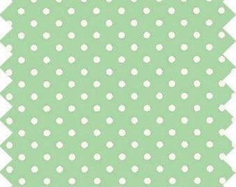 GREEN WHITE POLKA DOT FABRIC