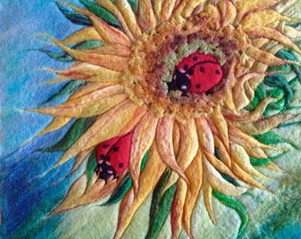 Romantic ladybug coupl in wool felted picrure. Home decor, cute gift.