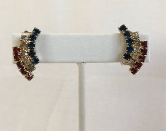 Rhinestones Arch Red White And Blue Set in Gold Tone Clip Vintage Earrings