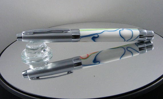 Contemporary Rollerball Pen in Satin Chrome and Acrylic
