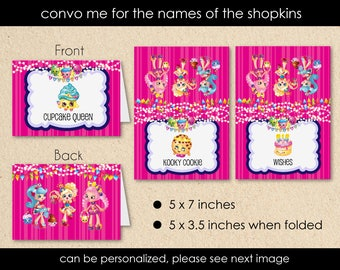 Shopkins Food Tent Labels Birthday Party Jessicake Popette Bubbleisha Cupcake Queen Kooky Cookie Wishes Cake Pink Stripes DIY - Digital File