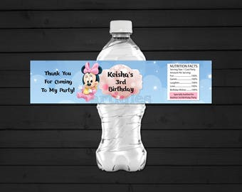 Personalized Baby Minnie Mouse Water Bottle Label Clouds and Stars First 1st Birthday Baby Shower Party Bokeh Priintable DIY - Digital File