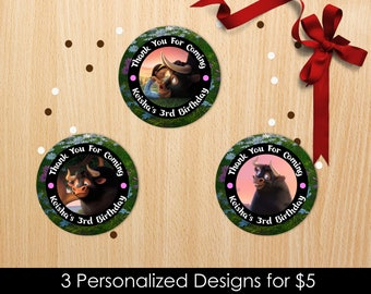 Personalized Ferdinand The Bull Cupcake Topper Favor Labels Thank You Tags Favor Stickers Birthday Party Nina Printable DIY - Digital File