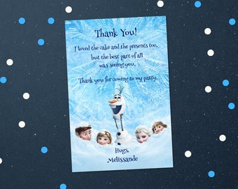 Personalized Frozen Queen Elsa Princess Anna Thank You Card Birthday Party Printable DIY - Digital File