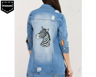 Zebra Iron on Patch Zebra Embroidered Patch Zebra Patch Cool Iron on Patch Horse Patch Large Back Patch Aesthetic Patch Backpatch for Women
