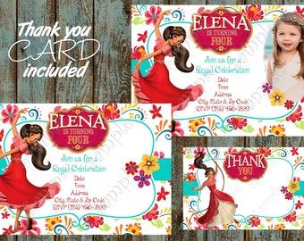 Elena of Avalor Invitation, Elena of Avalor Party, Elena of Avalor Birthday, Elena of Avalor Printable Invitation, Elena of Avalor Thank you