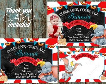 Dumbo Invitation, Dinsey Dumbo Invitation, Dumbo Printable Invitation, Dumbo Birthday Party Supplies, Circus Invitation, Circus Party