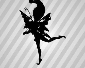 Playful Fairy Silhouette - Svg Dxf Eps Silhouette Rld RDWorks Pdf Png AI Files Digital Cut Vector File Svg File Cricut Laser Cut