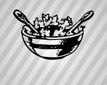 salad bowl - Svg Dxf Eps Silhouette Rld RDWorks Pdf Png AI Files Digital Cut Vector File Svg File Cricut Laser Cut