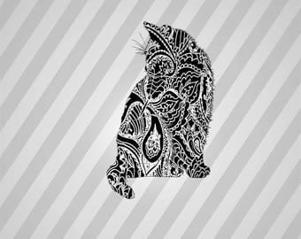 cat outline Silhouette - Svg Dxf Eps Silhouette Rld RDWorks Pdf Png AI Files Digital Cut Vector File Svg File Cricut Laser Cut