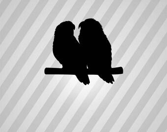 Parrots Love Birds Silhouette Birds - Svg Dxf Eps Silhouette Rld RDWorks Pdf Png AI Files Digital Cut Vector File Svg File Cricut Laser Cut