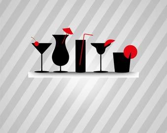 Cocktails Silhouette - Svg Dxf Eps Rld Rdworks Pdf Png Ai Files Digital Cut Vector File Svg File Cricut Laser Cut