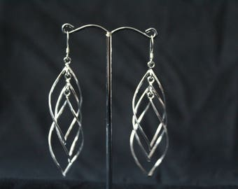 Handcrafted Artisan Jewelry, Silver Earrings, Laos Jewelry, Looped Leaf Earrings