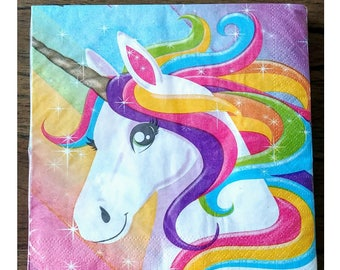 20pc. Rainbow Unicorn Birthday Lunch Napkins~ Party Supplies Tableware