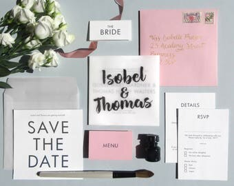Brush Calligraphy Wedding Suite 'My Cherie Amour'