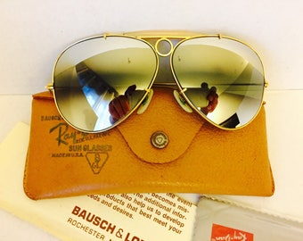vintage aviator shooter Ray Ban sunglasses double mirrored usa bl bausch lomb 62mm original