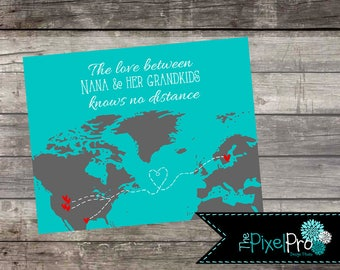 Love knows no distance home decor print, unique gift love distance, love knows no distance print, love across distance with teal and grey
