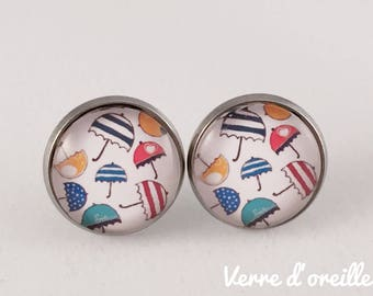 Earrings glass cabochon umbrellas-studs