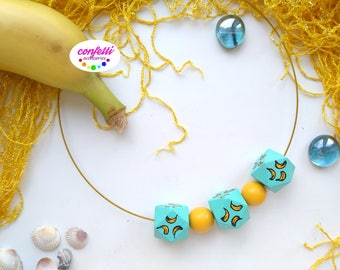 Wooden necklace Natural wood jewelry Colorful necklace Pastel jewelry Summer necklace Eco necklace Boho choker Kids necklace Wood geometric