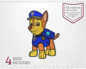 Paw Patrol Chase Embroidery Machine Design - 4 Sizes - INSTANT DOWNLOAD - Applique, Embroidery, Designs