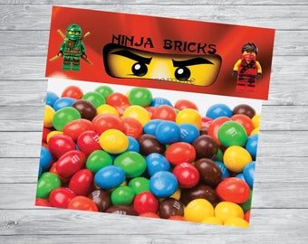 Instant DL- Treat Candy Bag Toppers Favor Bags Toppers , Ninjago treat bag topper, Ninjago party, Ninjago birthday