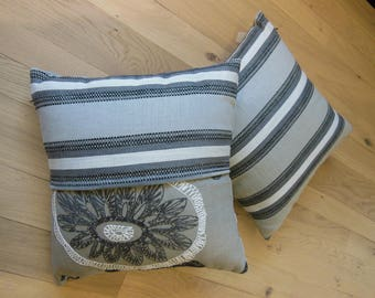 grey stripes and flowers cushion