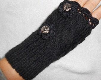 black knit mittens for women