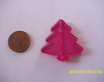 1 Pearl Christmas tree Christmas fuchsia 3.9X4.1 cm 1.9 mm hole