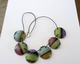 Necklace drops fimo antique type, color shades