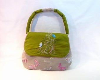 Bag grey and Green Butterfly print