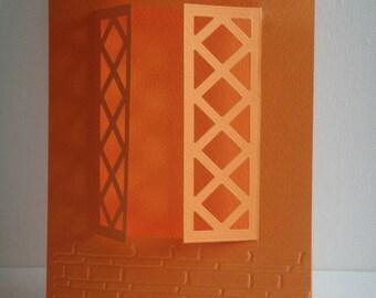 Double card window orange embossed brick for creation