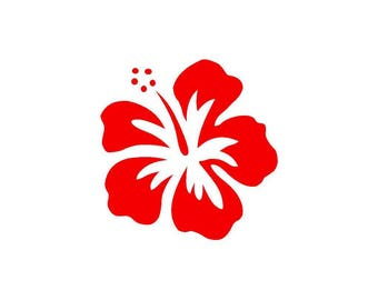 Hibiscus red vinyl sticker shiny height 10 cm (glass exterior, ref: E)