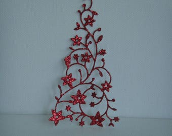 Cutout tree red snow glitter for scrapbooking or card