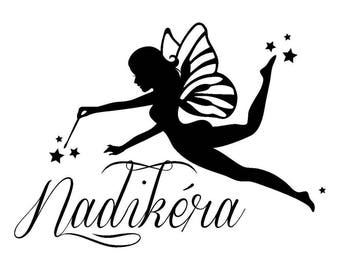 Sticker with shiny black vinyl name fairy height 18 cm (specify name)