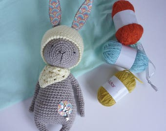 Bunny taupe hand crocheted