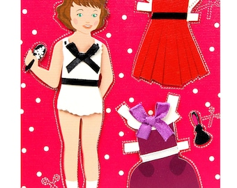 Greeting card handmade girl with dress and apron