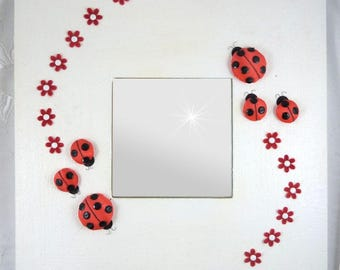 square mirror ladybugs of silk and flowers