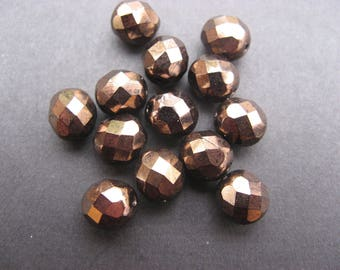 Faceted 10 mm: 8 beads Bohemian bronze