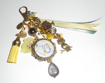 Jewelry bag/key OWL with matching ribbons and yellow and grey glass beads