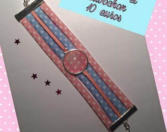 Jewelry Ribbon cuff Bracelets and charms of pink & blue tone