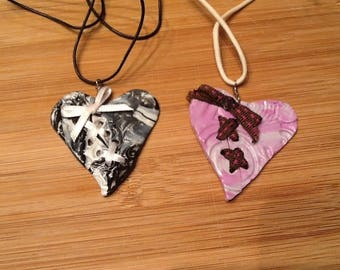 Marbled heart knotted Ribbon necklace