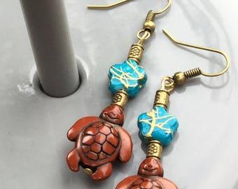 Earrings turtles turquoise Pearl for pierced ears