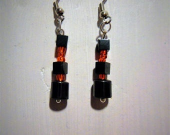 Earring glass beads and hematite