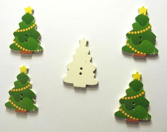 LOT 5 wood buttons: Christmas tree 25 * 35 mm (No. 10)