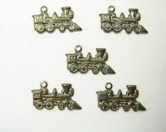 LOT 5 METALS black CHARMS: Locomotive 17mm