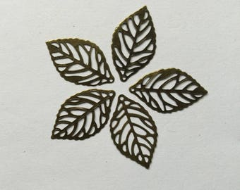 10 filigree leaves bronze 2.4 x 1.4 cm