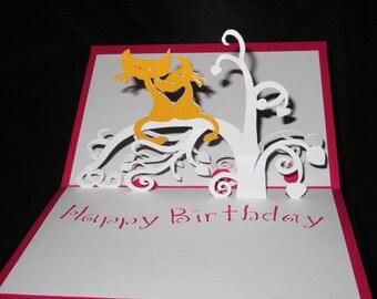 Cat 3D birthday card