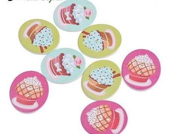 Cupcake 30 x 26 mm wooden buttons